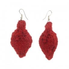 Boucles d'oreilles Feuille Rouge en laine