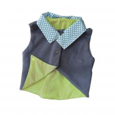 Gilet asymétrique sans manches bleu et vert olive