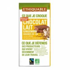 ETHIQUABLE Chocolat Lait Gingembre graines de Lin bio & équitable