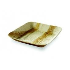 25 assiettes plates Palmier carrées - 17X17 cm -