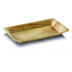 25 assiettes plates Palmier rectangulaire - 16x24 cm -