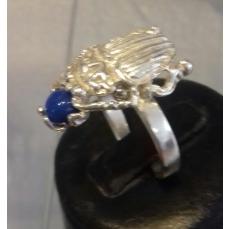 Bague réglable scarabée et pierre Lapis Lazuli argent massif