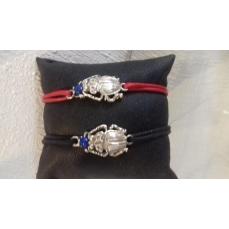 Bracelet cordon adaptable le scarabée et pierre Lapis Lazuli argent massif