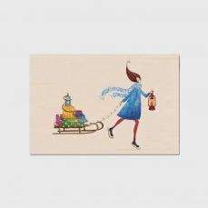 Carte de vœux  fin d'année en bois Luge de cadeaux