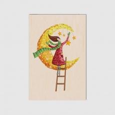 Carte de voeux de Fin d'Année en bois Fêtes de rêve