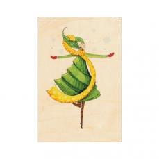 Carte de vœux des fêtes de fin d'année en bois Fée verte