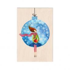 Carte de vœux de fin d'année en bois Magie bleue