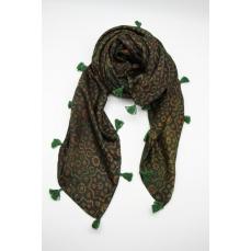 Grand Carré Foulard Soie Pigments naturels Vert Foncé / Collection Inoubliable Caresse