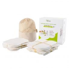 Kit 10 carré bébé lavables et 10 gants de change écru en coton bio biface dans leur boîte - Kit Eco Chou