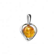 Pendentif cœur en ambre de la Baltique sur argent 925