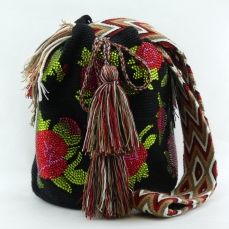 Mochila Wayuu Noire et Fleurs