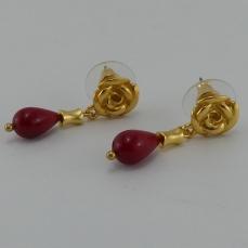 Boucles d'oreilles pierre en céramique rouge