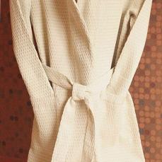 Peignoir beige en lin mélangé homme femme