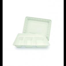 50 plateaux blancs 5 compartiments en canne à sucre.