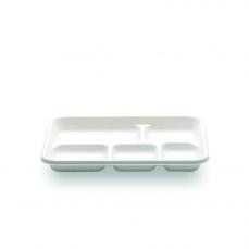 Plateau blanc 5 compartiments en canne à sucre.