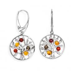 Boucles d'oreilles arbre de vie en ambre multicolore sur argent 925