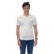 T-Shirt Col V Manches Courtes en pure laine MERINOS COOLMAN - Blanc Cassé