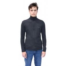 T-shirt avec ZIP en pure laine Mérinos COOLMAN Gris Anthracite