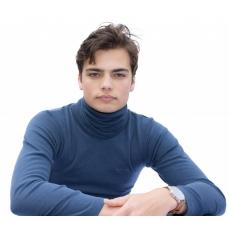 Tour de Cou ou Bandeau cache oreilles en pure laine MERINOS COOLMAN - bleu jean