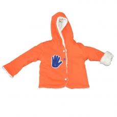 Veste réversible en Teddy ecru et orange