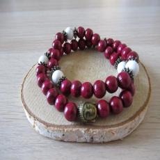 Bracelet double rang bois et pierres