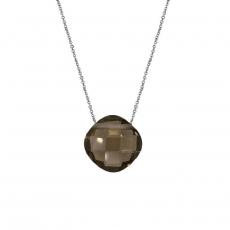 Collier briolette quartz fumé avec une chaîne en argent rhodié 925.