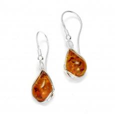 Boucles d'oreilles en ambre de la Baltique sur argent 925 rhodié.
