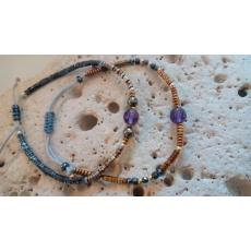 Bracelets hématite et améthyste réglables