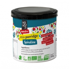 Mix Porridge Spiruline Bio KoKoji - 350g - Sans gluten - Sans sucre ni matière grasse ajoutés - Vegan - Rawfood - Fabrication française