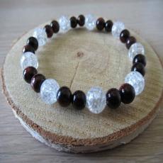 Bracelet cristal de roche oeil du tigre rouge