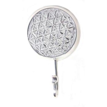 """Patère 1 crochet en métal argenté """"EPNS"""" géométrie Fleur de Vie  9.5x4.5x15 cm"""