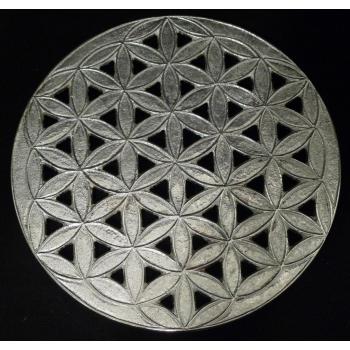 """Dessous de plat géométrie Fleur de Vie en métal argenté """"EPNS"""" vernissé  D.19 cm"""