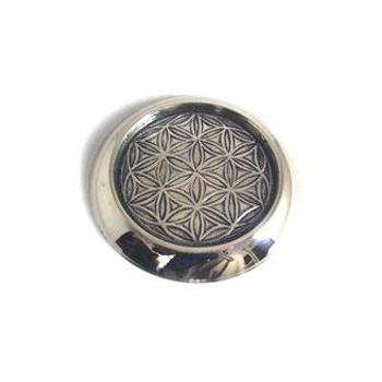 """Dessous de bouteille en métal argenté """"EPNS"""" géométrie Fleur de Vie  D.10.5 cm"""