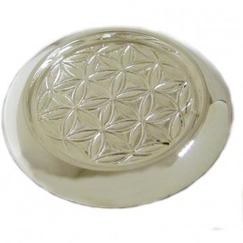 Dessous de bouteille métal argenté motif Fleur de vie D.12  H.1 cm D.int. 8.9 cm