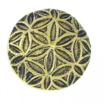 Bouton de meuble géométrie Fleur de Vie en laiton poli vernissé D. 3 cm