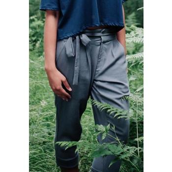 Pantalon coton biologique, couleur gris acier