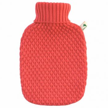 Bouillotte housse tricotée Corail