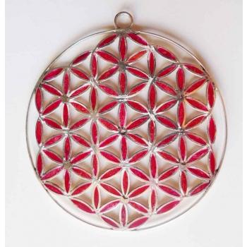 Fleur de vie pendentif en argent massif incrusté de résine rouge et cerclé. D. 6,6 cm