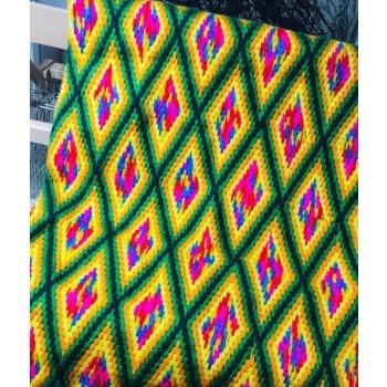 Plaide tapisserie en fibre recyclées 100/120 cm