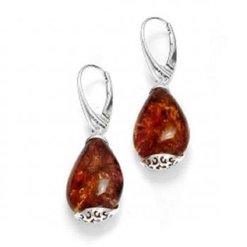 Boucles d'oreilles en ambre de la Baltique sur argent rhodié 925.