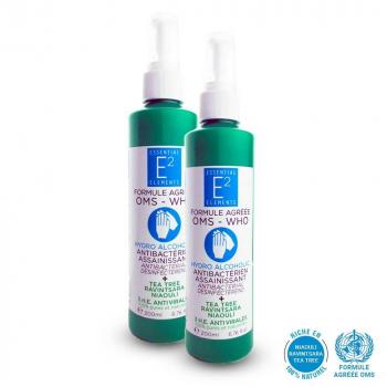 Lot de 2 Spray hydroalcoolique aux 3 Huiles Essentielles BIO (200ml) - pour Mains et Surfaces (non irritant, économique) E2 ESSENTIAL ELEMENTS