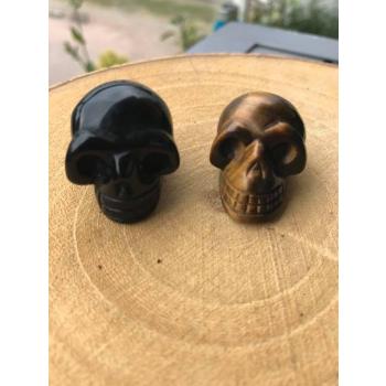 Duo mini crânes de Meditation Obsidienne et Oeil de Tigre