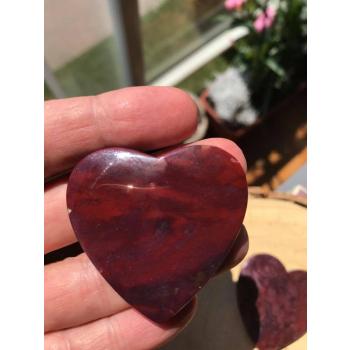 Cabochon Coeur  Agate mousse rouge 4.5 cm