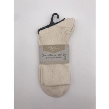 Chaussettes en coton bio, coloris ecru, taille 37/38