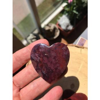 Cabochon Coeur Agate mousse rouge n°2  4,5 cm