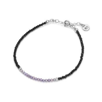 Bracelet en spinelle noir et zircon sur argent rhodié,