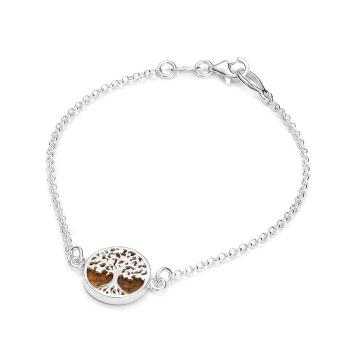 Bracelet arbre de vie en ambre de la Baltique sur argent 925