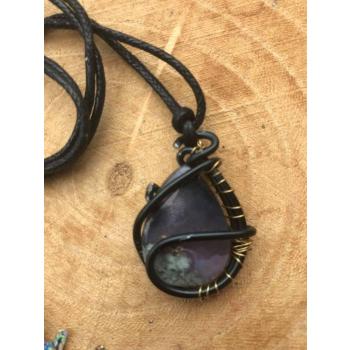 Amulette Agate mousse violette Element Eau