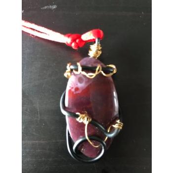 Médusa Amulette Agate mousse rouge Indonésie