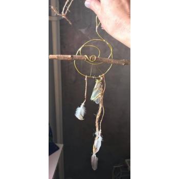 Agate Irisée en Atrappe Rêve Naturel Gold Shaman